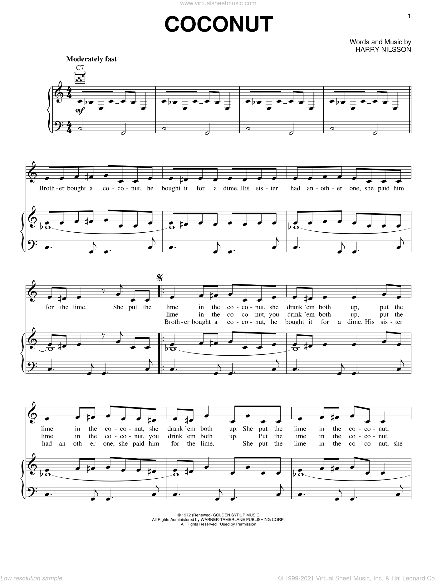 Coconut sheet music for voice, piano or guitar by Harry Nilsson, intermediate skill level