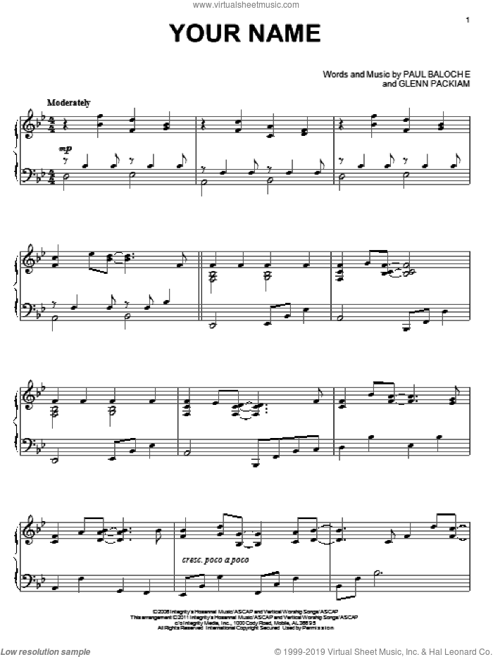 Your Name sheet music for piano solo by Paul Baloche, Phillips, Craig & Dean and Glenn Packiam, intermediate skill level
