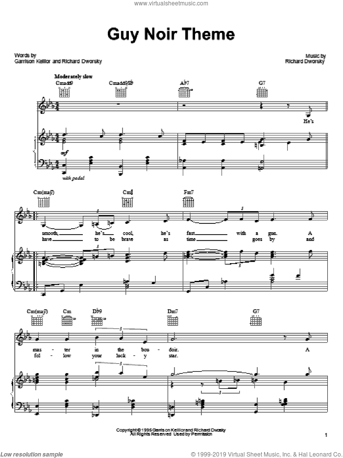 Guy Noir Theme sheet music for voice, piano or guitar by Richard Dworsky and Garrison Keillor. Score Image Preview.