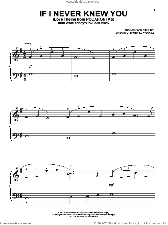 If I Never Knew You (Love Theme from POCAHONTAS) sheet music for piano solo (big note book) by Stephen Schwartz