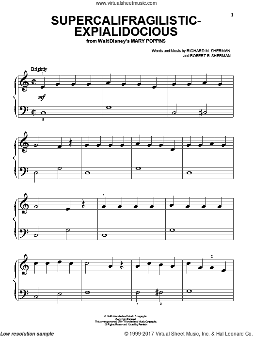 Supercalifragilisticexpialidocious sheet music for piano solo (big note book) by Sherman Brothers, Richard M. Sherman and Robert B. Sherman, easy piano (big note book)