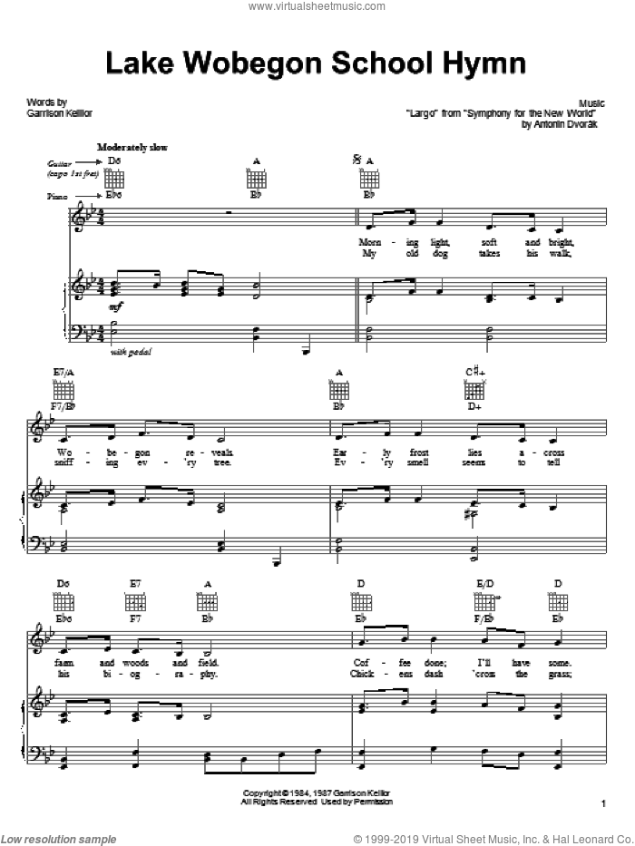 Lake Wobegon School Hymn sheet music for voice, piano or guitar by Garrison Keillor and Antonin Dvorak, intermediate skill level