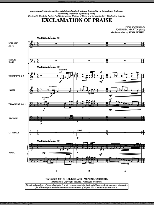 Exclamation Of Praise (COMPLETE) sheet music for orchestra by Joseph M. Martin