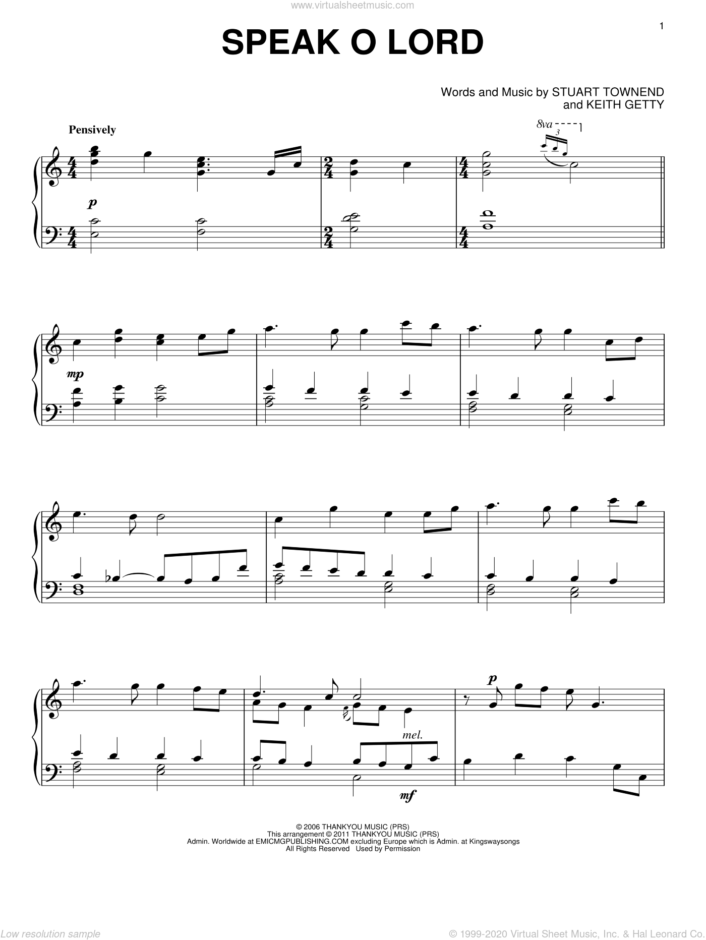 Speak O Lord sheet music for piano solo by Stuart Townend and Keith Getty, intermediate skill level