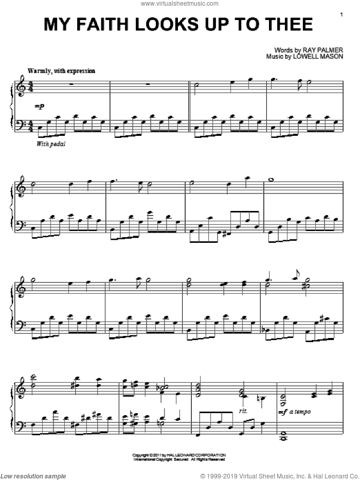 My Faith Looks Up To Thee sheet music for piano solo by Lowell Mason and Ray Palmer, intermediate skill level