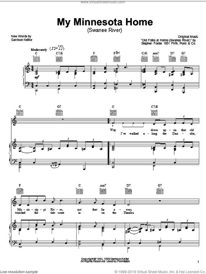 My Minnesota Home sheet music for voice, piano or guitar by Garrison Keillor and Stephen Foster, intermediate skill level