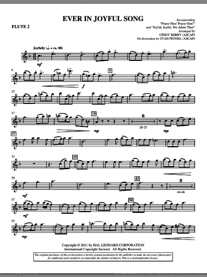 Ever In Joyful Song sheet music for orchestra/band (flute 2) by Cindy Berry