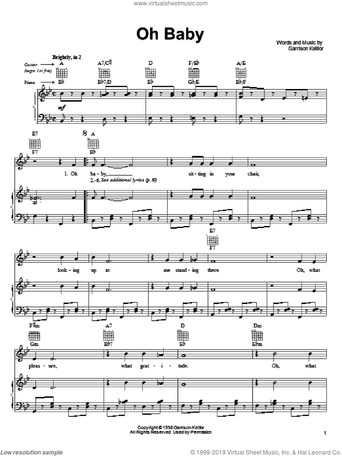 Oh Baby sheet music for voice, piano or guitar by Garrison Keillor. Score Image Preview.