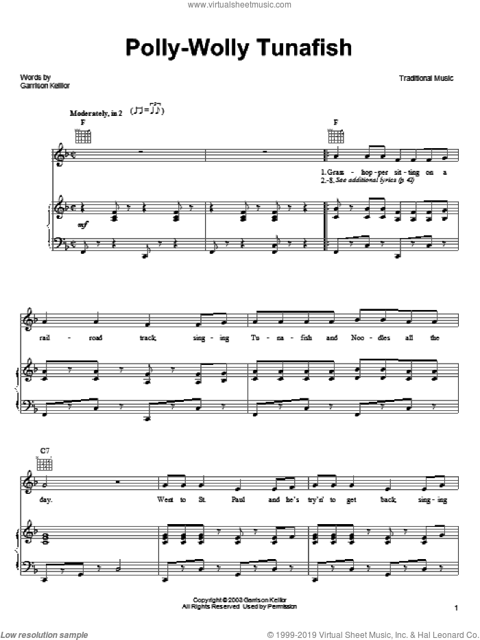 Polly-Wolly Tunafish sheet music for voice, piano or guitar by Garrison Keillor and Miscellaneous, intermediate skill level