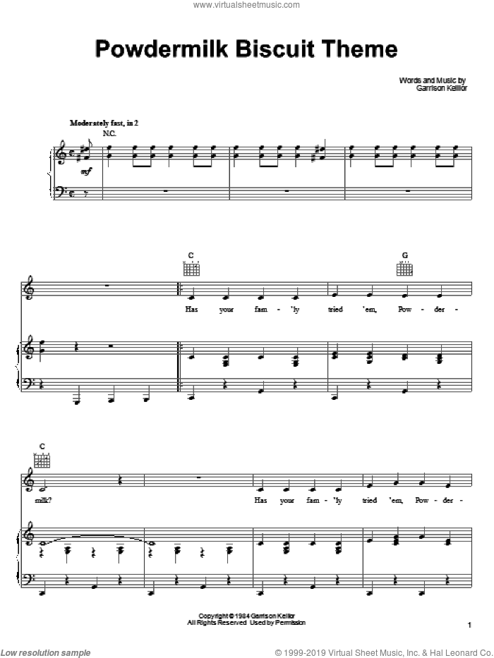 Powdermilk Biscuit Theme sheet music for voice, piano or guitar by Garrison Keillor. Score Image Preview.