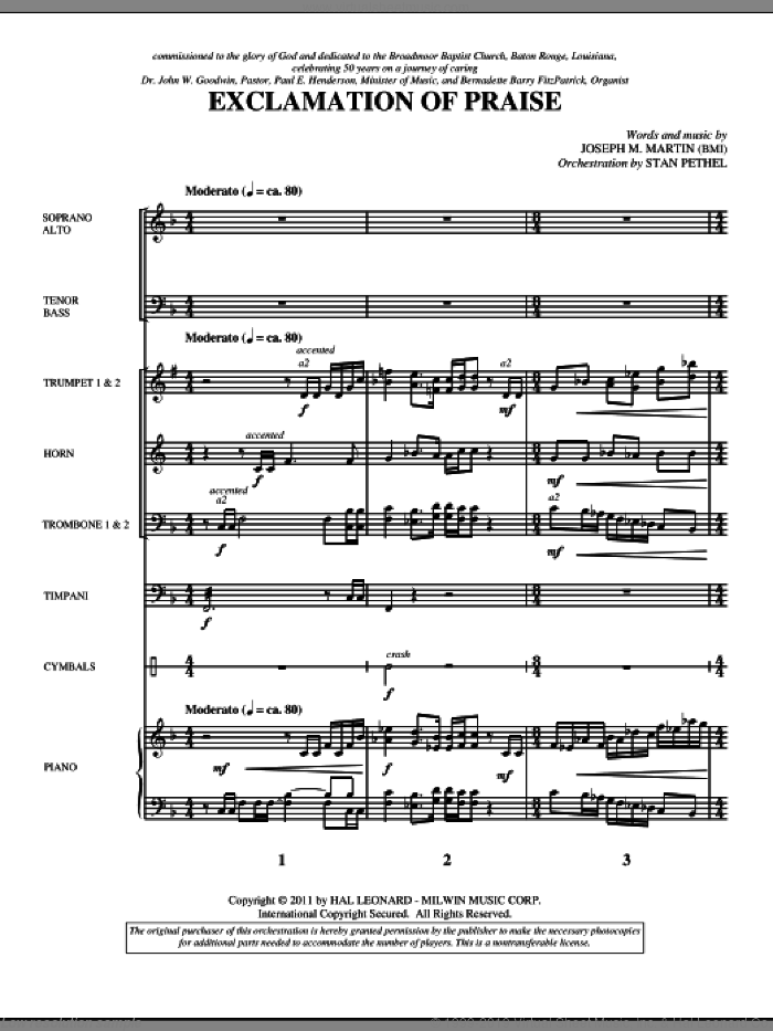 Exclamation Of Praise (complete set of parts) sheet music for orchestra/band (Brass) by Joseph Martin and Joseph M. Martin, intermediate skill level