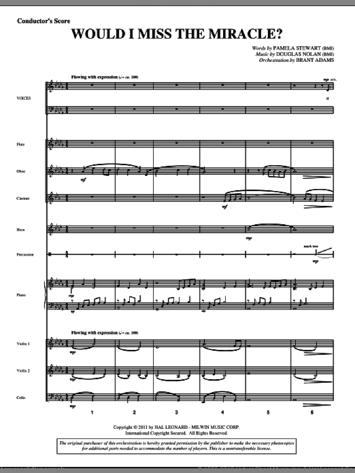 Would I Miss The Miracle? (complete set of parts) sheet music for orchestra/band (Orchestra) by Douglas Nolan and Pamela Stewart, intermediate skill level