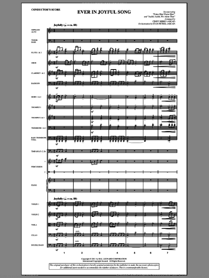 Ever In Joyful Song (complete set of parts) sheet music for orchestra/band (Orchestra) by Cindy Berry and Stan Pethel, intermediate