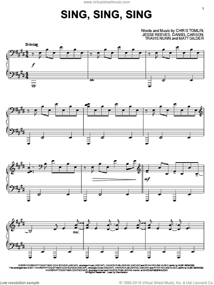 Sing, Sing, Sing, (intermediate) sheet music for piano solo by Chris Tomlin, Daniel Carson, Jesse Reeves, Matt Gilder and Travis Nunn, intermediate skill level