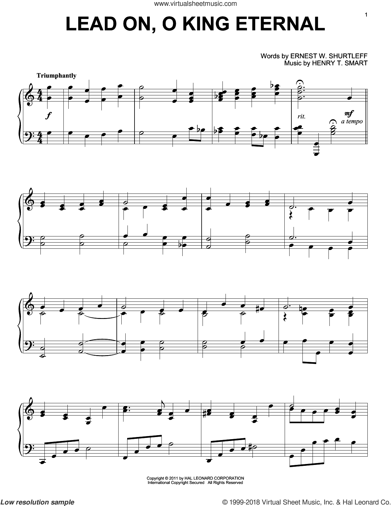 Lead On, O King Eternal sheet music for piano solo by Ernest W. Shurtleff and Henry T. Smart. Score Image Preview.