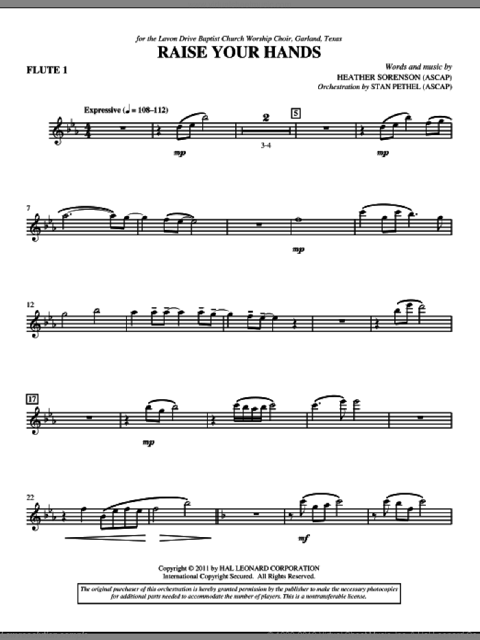 Raise Your Hands sheet music for orchestra/band (flute 1) by Heather Sorenson