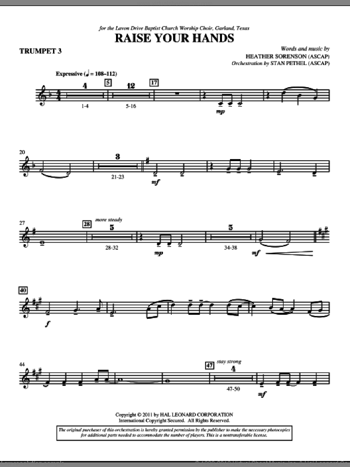 Raise Your Hands sheet music for orchestra/band (Bb trumpet 3) by Heather Sorenson