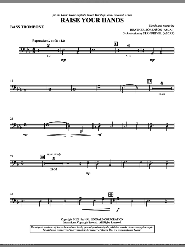 Raise Your Hands sheet music for orchestra/band (bass trombone) by Heather Sorenson