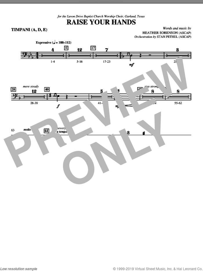 Raise Your Hands sheet music for orchestra/band (timpani) by Heather Sorenson