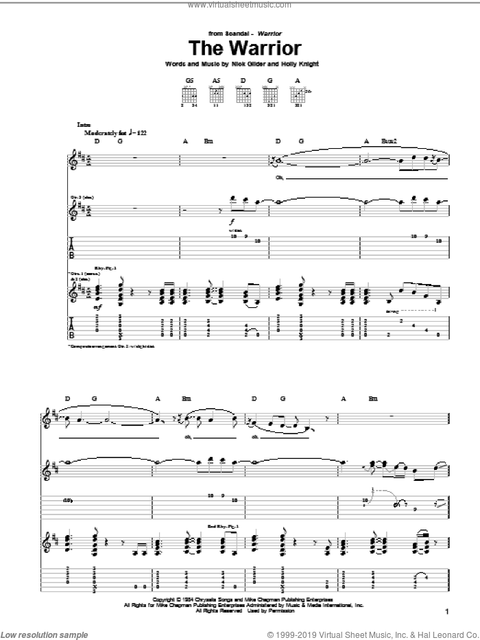 The Warrior sheet music for guitar (tablature) by Scandal and Nick Gilder. Score Image Preview.