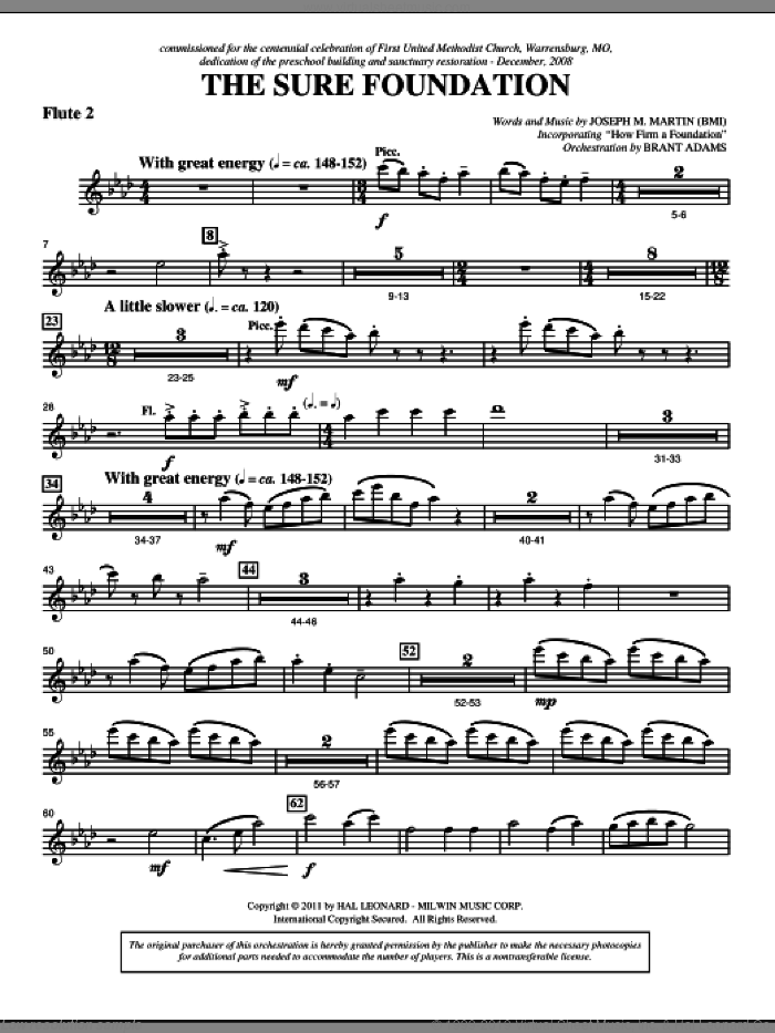 The Sure Foundation sheet music for orchestra/band (flute 2) by Henry T. Smart