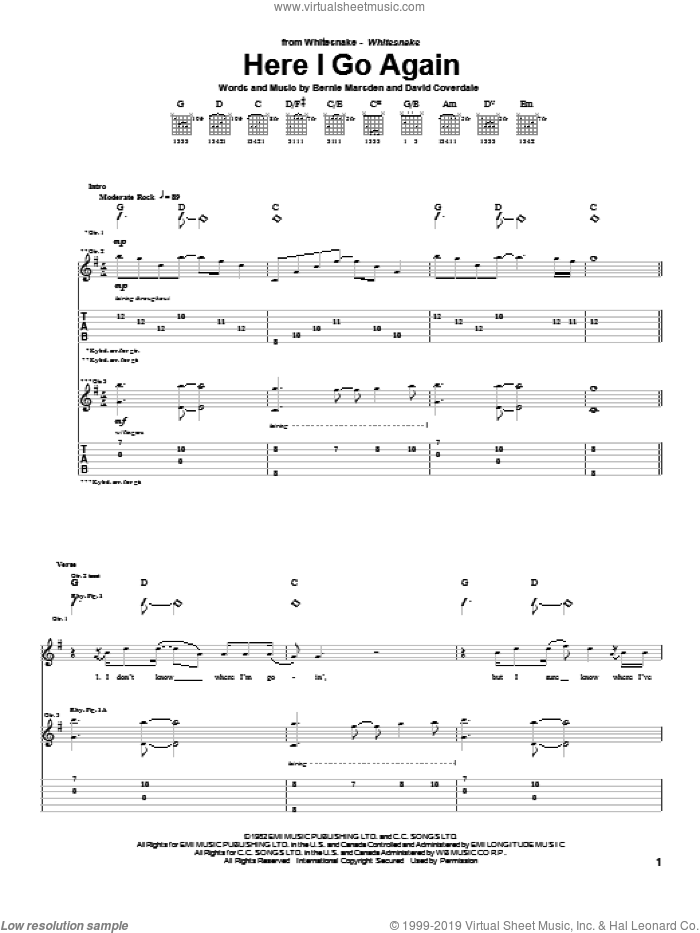 Here I Go Again sheet music for guitar (tablature) by David Coverdale
