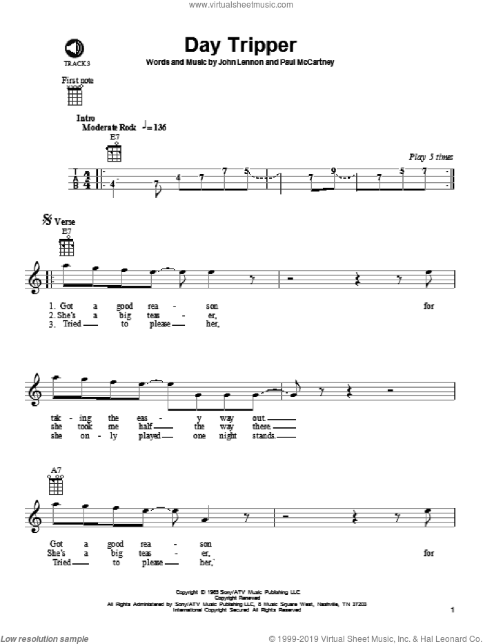Day Tripper sheet music for ukulele by Paul McCartney, The Beatles and John Lennon. Score Image Preview.