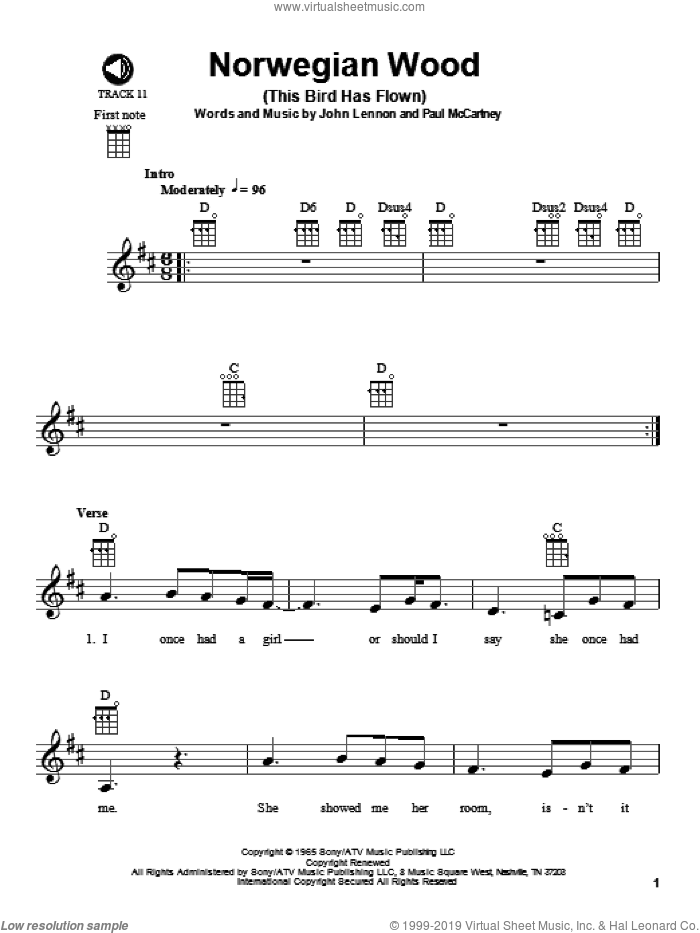 Norwegian Wood (This Bird Has Flown) sheet music for ukulele by Paul McCartney, The Beatles and John Lennon. Score Image Preview.