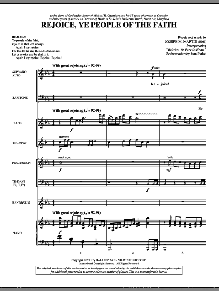 Rejoice, Ye People Of The Faith (complete set of parts) sheet music for orchestra/band (Special) by Joseph M. Martin, intermediate skill level