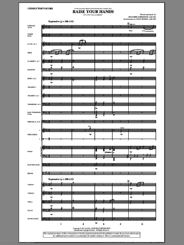 Raise Your Hands (complete set of parts) sheet music for orchestra/band (Orchestra) by Heather Sorenson, intermediate skill level