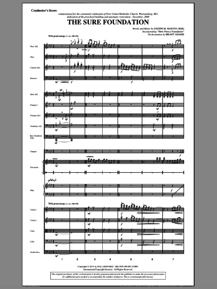 The Sure Foundation (complete set of parts) sheet music for orchestra/band (Orchestra) by John Mason Neale, Henry T. Smart, John Rippon, Joseph M. Martin and Miscellaneous, intermediate skill level
