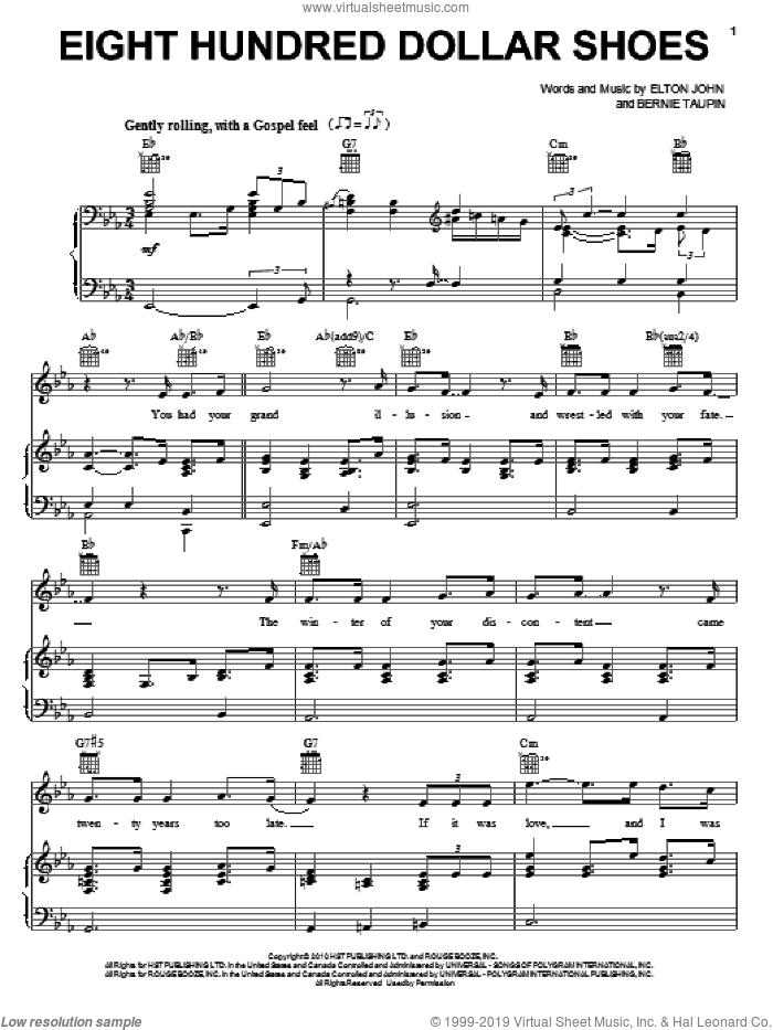 Eight Hundred Dollar Shoes sheet music for voice, piano or guitar by Elton John, Leon Russell and Bernie Taupin, intermediate. Score Image Preview.