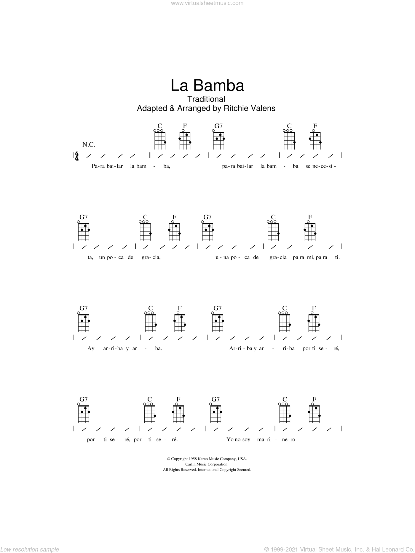 La Bamba sheet music for ukulele (chords) by Los Lobos and Ritchie Valens, intermediate skill level