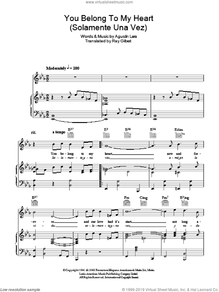You Belong To My Heart (Solamente Una Vez) sheet music for voice, piano or guitar by Bing Crosby and Agustin Lara, intermediate skill level