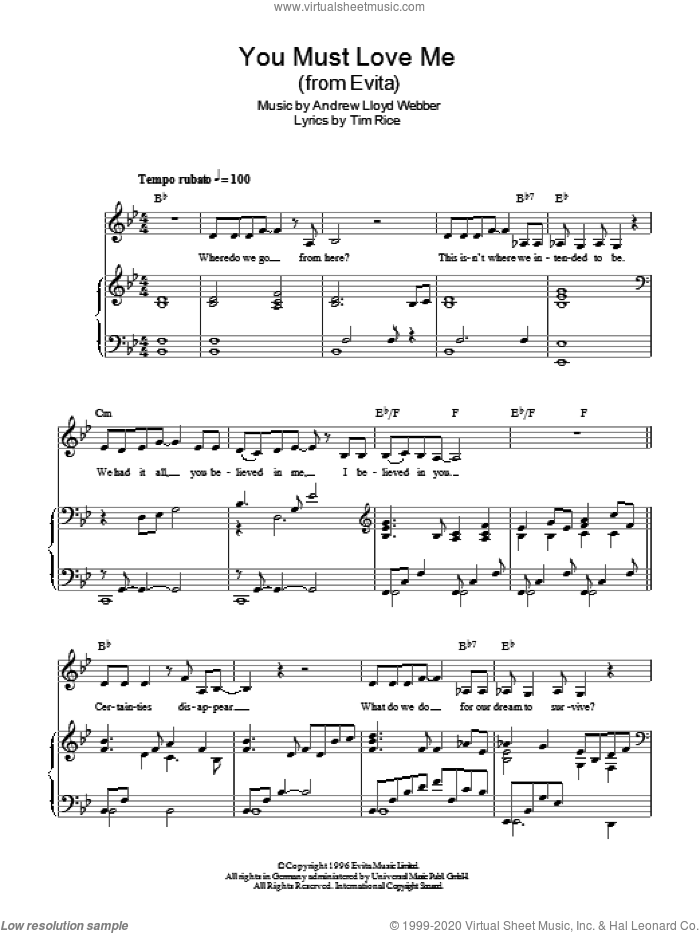 You Must Love Me sheet music for voice, piano or guitar by Andrew Lloyd Webber, Madonna and Tim Rice. Score Image Preview.