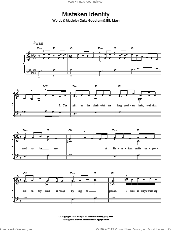 Mistaken Identity sheet music for piano solo by Delta Goodrem and Billy Mann, easy skill level