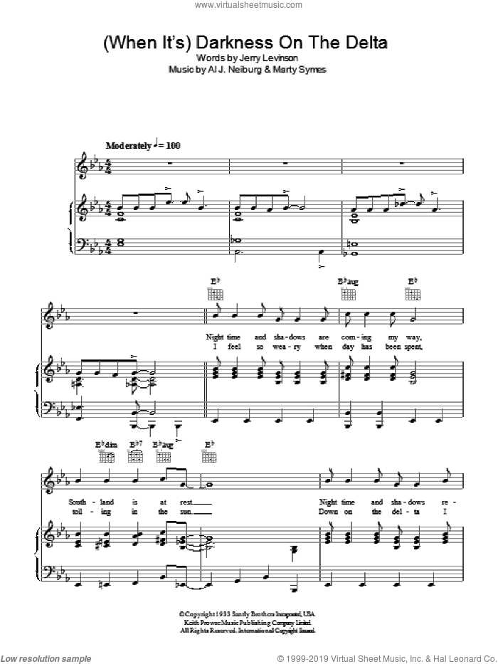(When It's) Darkness On The Delta sheet music for voice, piano or guitar by Marty Symes and Al J. Neiburg. Score Image Preview.