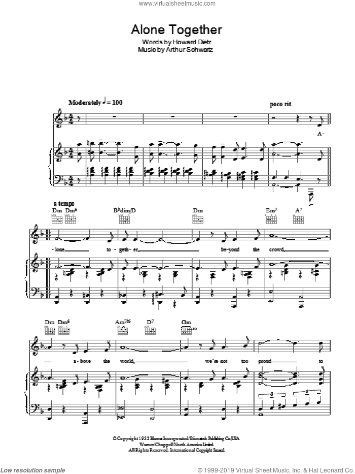 Alone Together sheet music for voice, piano or guitar by Peggy Lee, Arthur Schwartz and Howard Dietz, intermediate voice, piano or guitar. Score Image Preview.