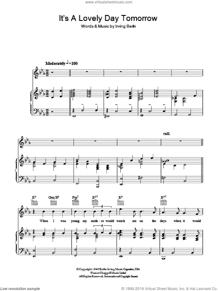 It's A Lovely Day Tomorrow sheet music for voice, piano or guitar by Irving Berlin
