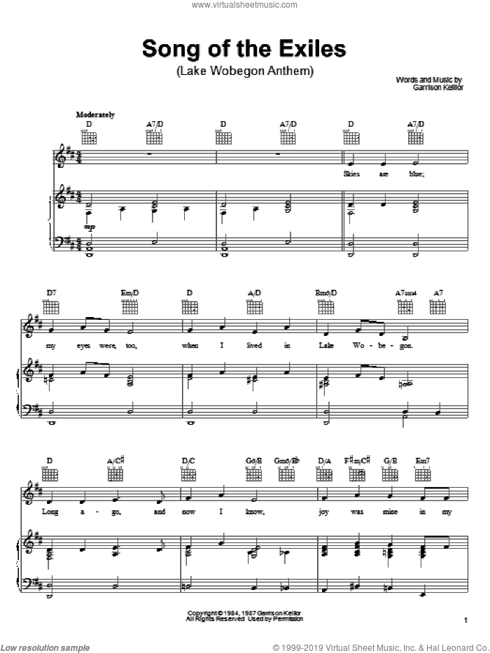 Song Of The Exiles sheet music for voice, piano or guitar by Garrison Keillor. Score Image Preview.