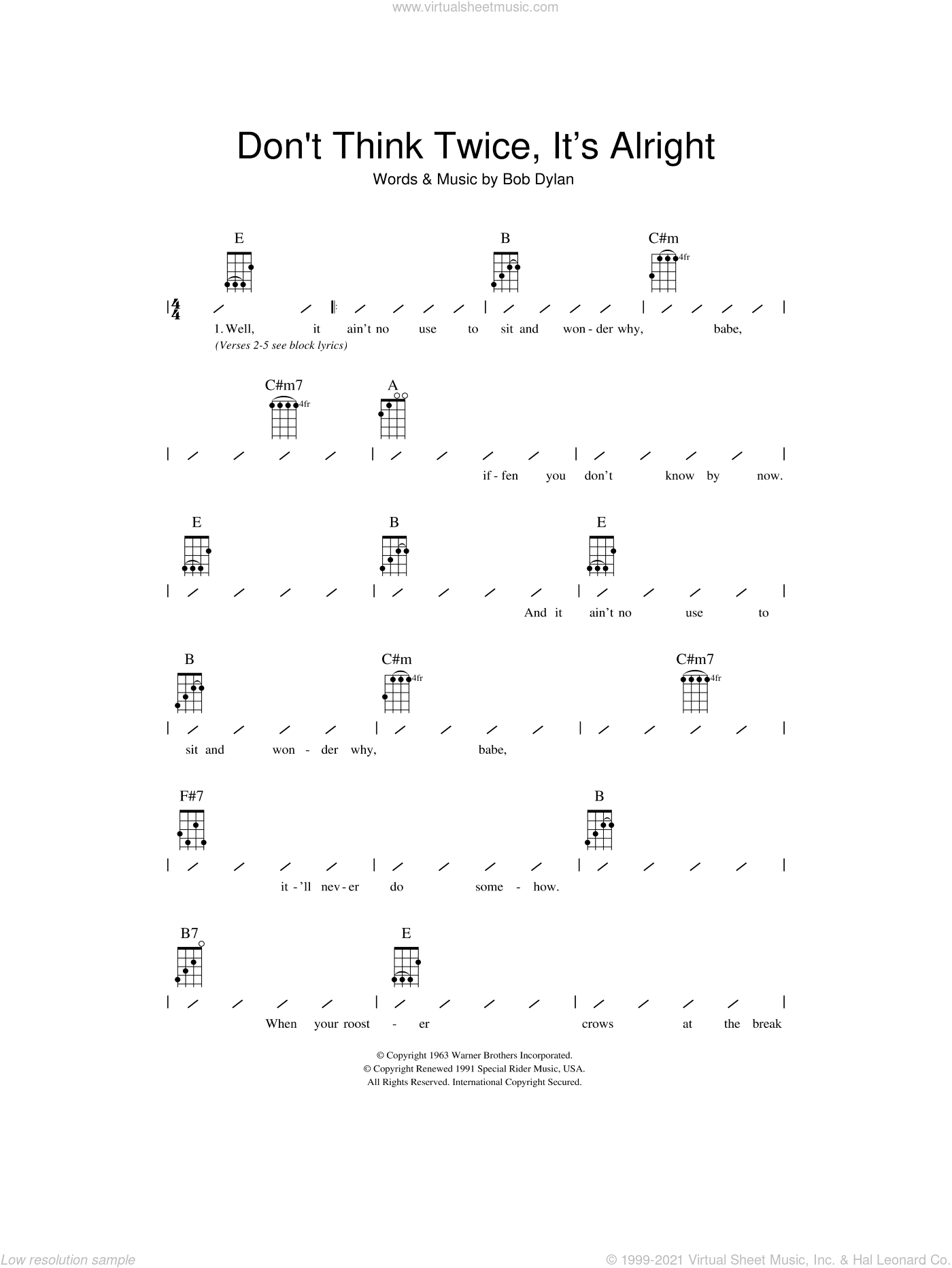 Don't Think Twice, It's All Right sheet music for ukulele (chords) by Bob Dylan, intermediate skill level