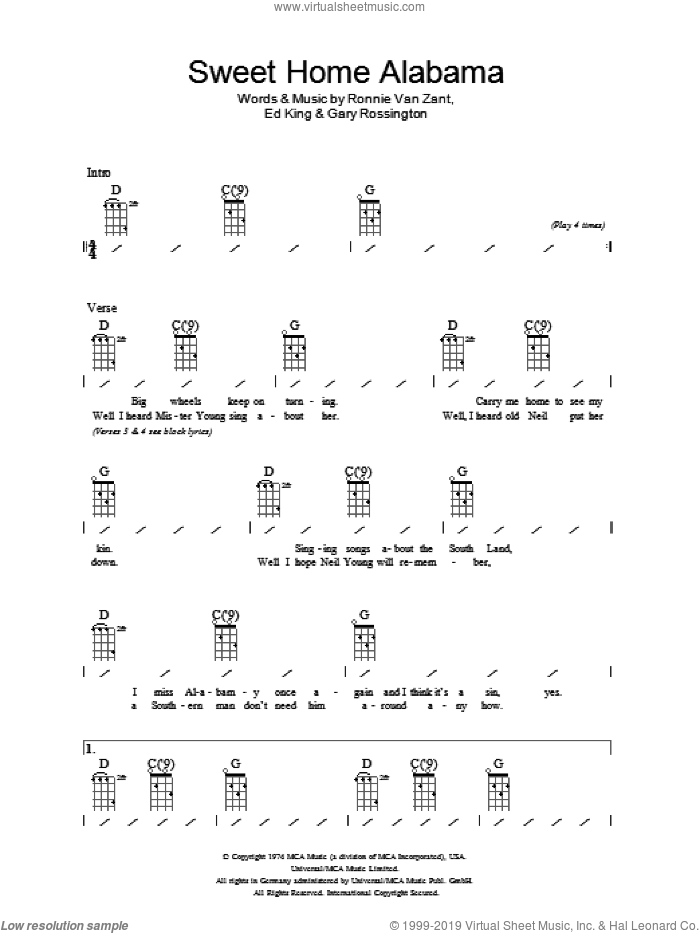 Sweet Home Alabama sheet music for ukulele (chords) by Ronnie Van Zant