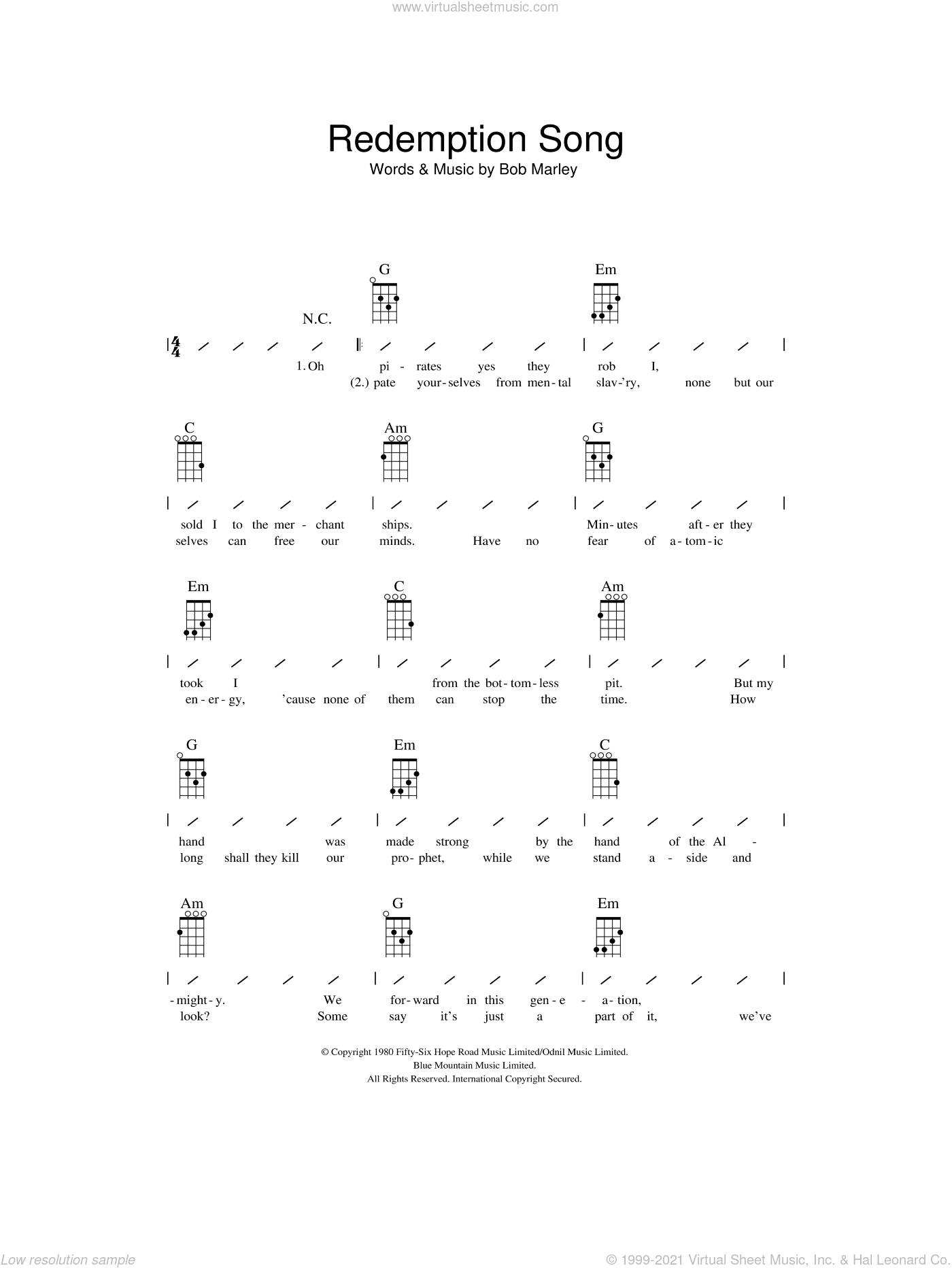 Redemption Song sheet music for ukulele (chords) by Bob Marley, intermediate skill level