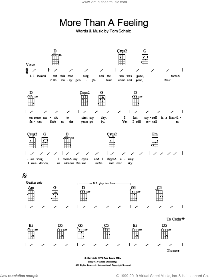 More Than A Feeling sheet music for ukulele (chords) by Tom Scholz. Score Image Preview.