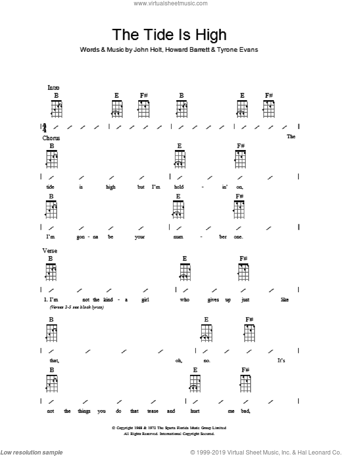 The Tide Is High sheet music for ukulele (chords) by Blondie, Howard Barrett, John Holt and Tyrone Evans, intermediate