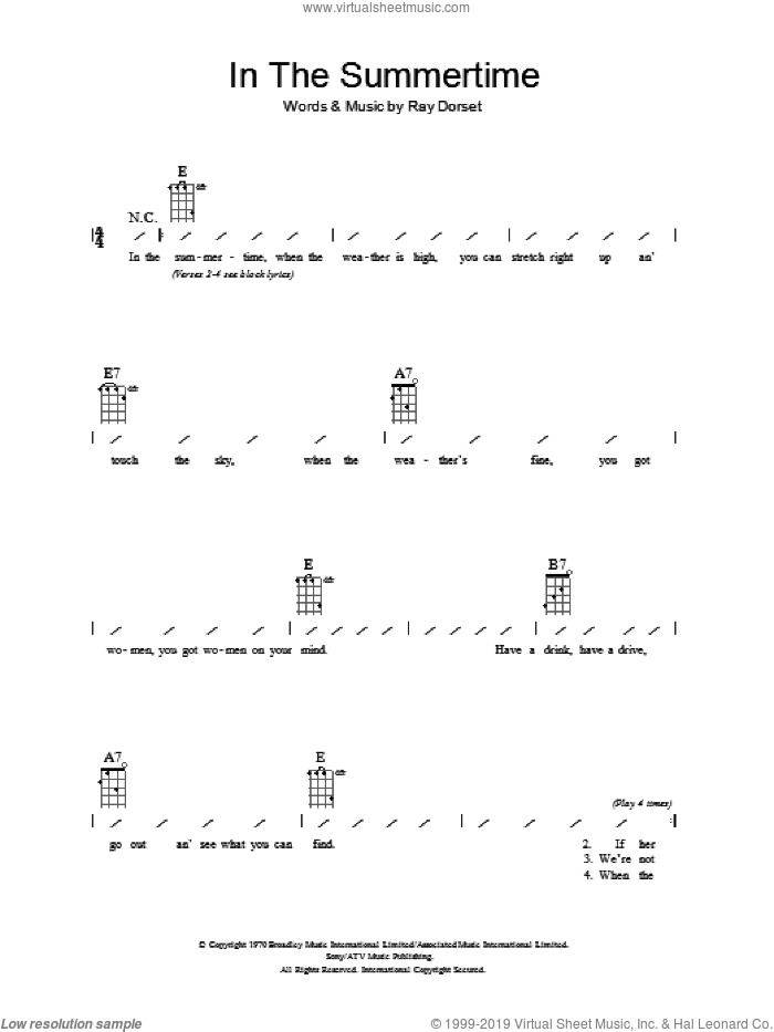 In The Summertime sheet music for ukulele (chords) by Mungo Jerry and Ray Dorset, intermediate skill level