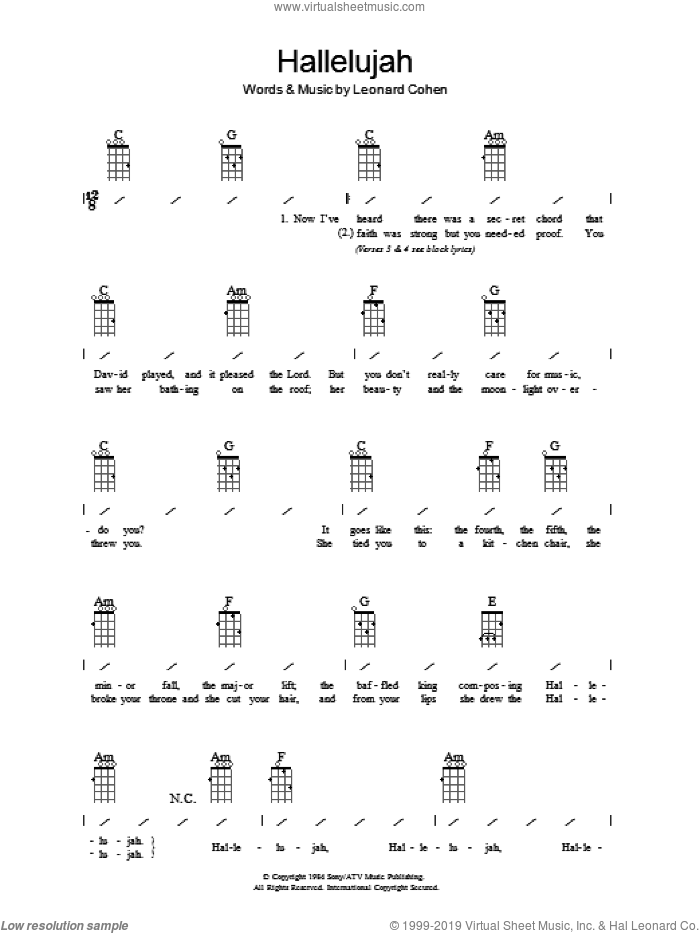 Hallelujah sheet music for ukulele (chords) by Leonard Cohen, Jeff Buckley, John Cale, K.D. Lang and Rufus Wainwright. Score Image Preview.