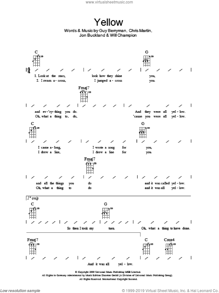 Yellow sheet music for ukulele (chords) by Coldplay. Score Image Preview.