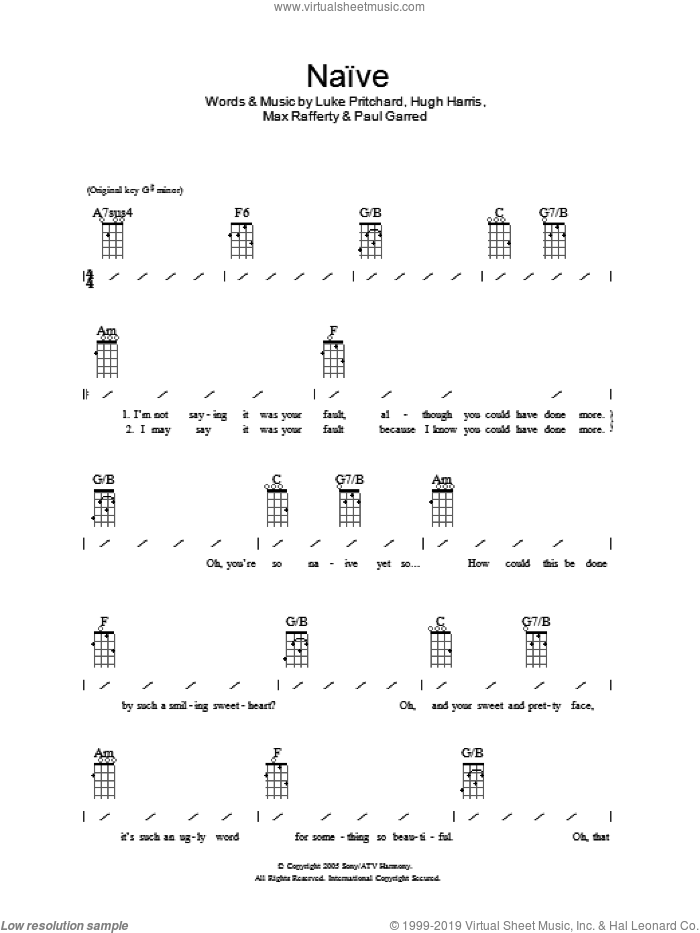 Naive sheet music for ukulele (chords) by Paul Garred, The Kooks, Hugh Harris and Luke Pritchard. Score Image Preview.