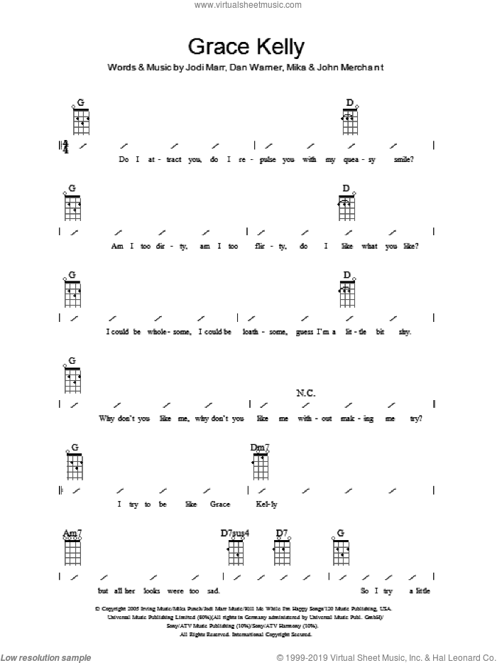 Grace Kelly sheet music for ukulele (chords) by John Merchant, Dan Warner, Jodi Marr and Mika. Score Image Preview.